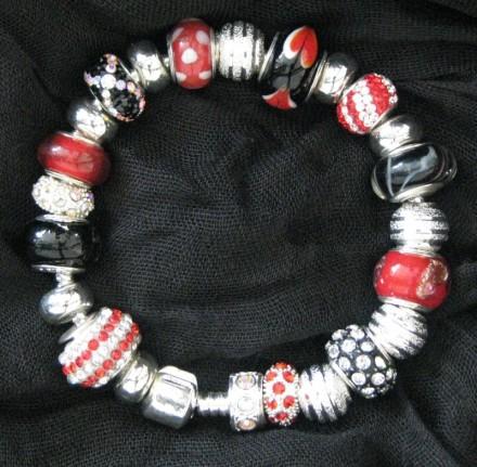 Red, Black, White & Silver Bracelet $110