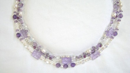 Three Strand Amethyst, Freshwater Pearls & Miscellaneous Bead Necklace.