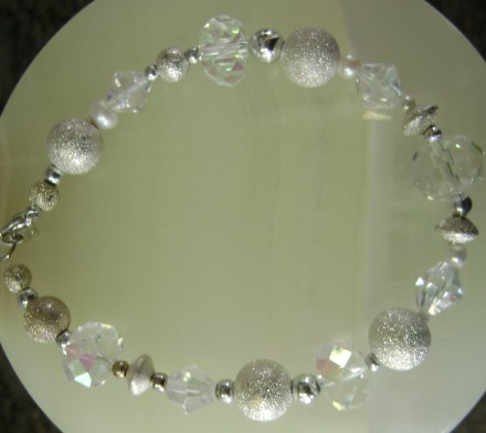Textured Silver, Crstal Beads