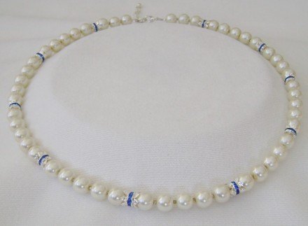 "Fresh Water Pearls With Sapphire Blue Crystal Double Spacers.Sapphire Blue Crystal Rhondelle Spacers & Creme Freashwater Pearl Adjustable 19"" to 23"" Necklace $84"