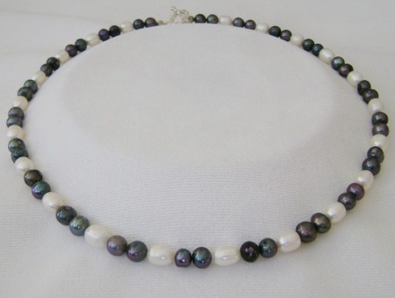 "Freshwater Black & White Pearl 20"" Necklace $ 90"