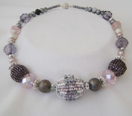 Very Pretty  detailed Necklace In Pinks, Greys, & Lavenders.
