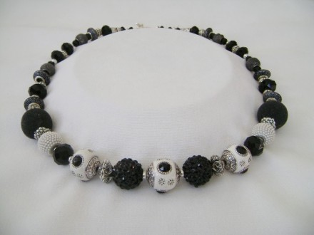 Textured With Beads Of Black & White.