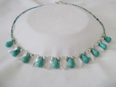 Turquoise Tear Drops, Glass Drops, Silver Tone Spacer Beads, & Seed Beads Back.