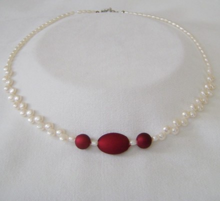 Beautiful Fresh water Pearls and Satiny Red Focal Contrast.