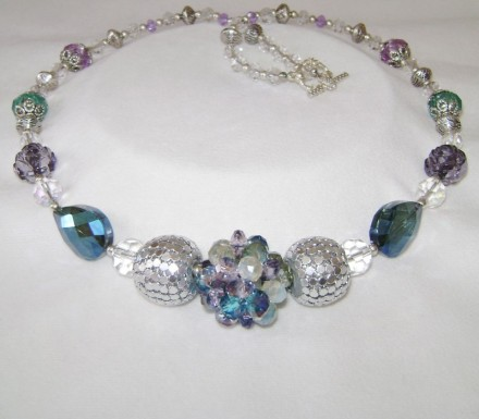 "26 1/2"" Long Necklace In Silver, Blue & Plum Colors $ 36"