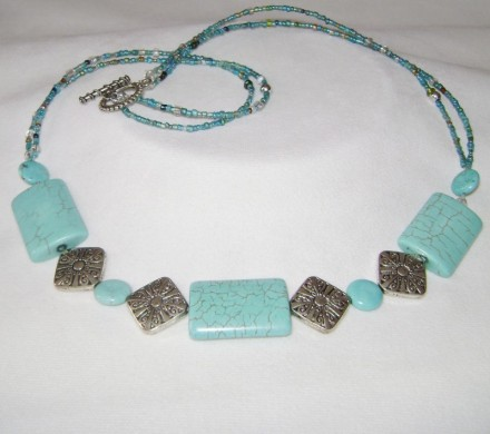 "Turquoise Bars & Beads 28"" Necklace/Silver Tone $"