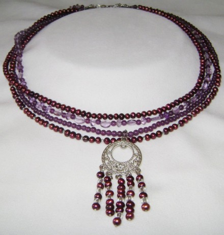Freshwater Red Seed Pearls, Silver, & Antique Purple Beads.