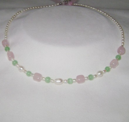 Rose Quartz, Jade, & Freshwater Pearls.