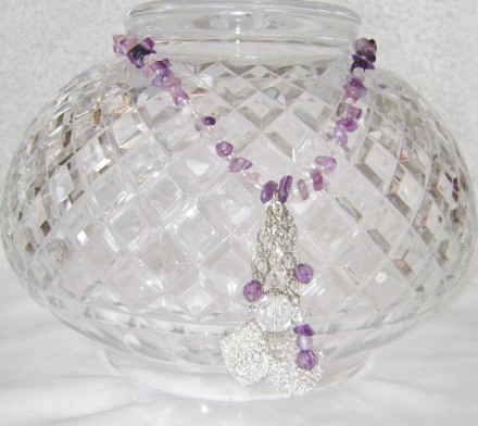 Amethyst Necklace With Dangling Crystal, Beads, & Silver Textured Cubes.