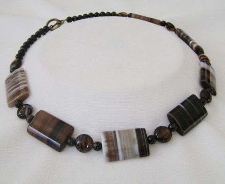 "Gorgeous Genuine Stone 20-1/2"" Bronze toggle Clasp Necklace $ 80"