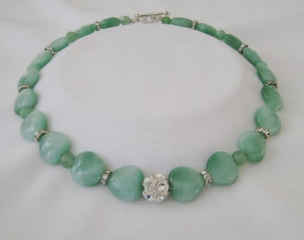 Heart Shaped Jade Separated With Crystal And Jade Beads. $110.00