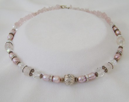 Rose Quartz, Fresh Water Pearls, Crystal & Antique Silver. $ 65.00