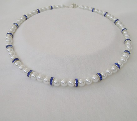 Sapphire Colored Crystal Spacers & Freshwater Pearl Shells.