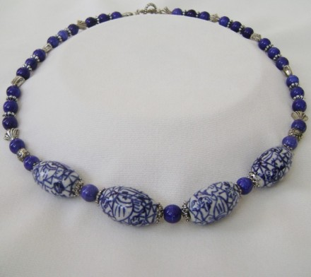 "lue Stone & Porcelain 20"" Necklace 4 Large Blue & White Porcelain Beads with Antique Silver and Stone Beads & Toggle Clasp $ 45"