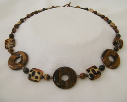 "Tiger's Eye Stone Donuts & Animal Print Squares 22"" Necklace $ 64"