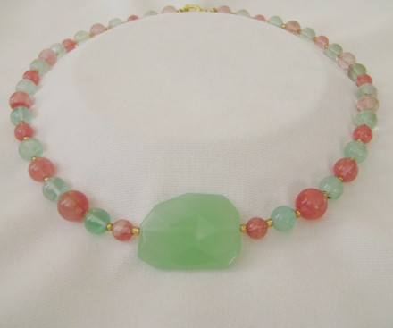 JADE, TOURMALINE & GOLD NECKLACE