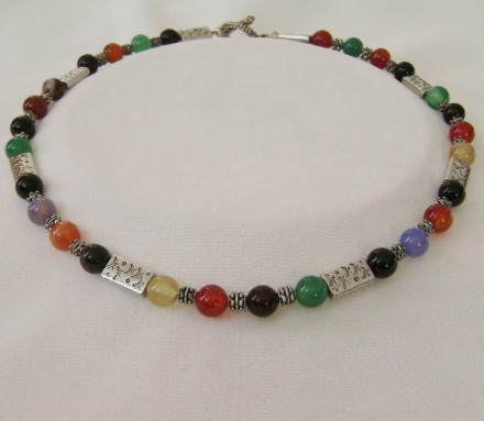 "Gorgeous 19"" Multicolored Jade Necklace $ 102.00"