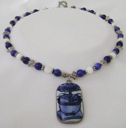 Asian Inspired Stone, Tibetan Silver, & Vase Shard.